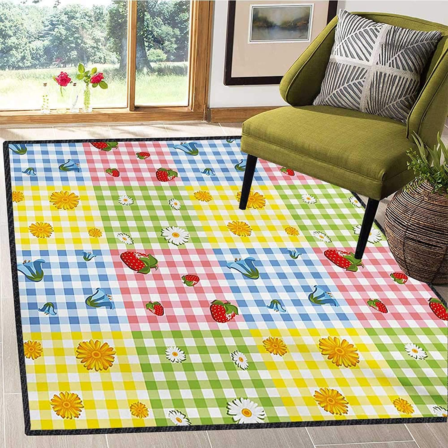Spring, Door Mats Area Rug, colorful Pattern with Strawberries Chamomiles blueebells and Marigold Picnic Design, Door Mat Indoors 5x6 Ft Multicolor