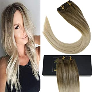 Sunny Clip in Hair Extensions Human Hair 18 inch Clip in Balayage Extensions Ombre Balayage Clip in Human Hair Light Brown Fading to Platinum Blonde 7pcs 120g