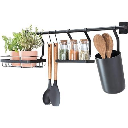 iDesign barre de cuisine (63,8 x 14,5 x 23,8 cm), porte ustensiles de cuisine avec 2 crochets, support pour plantes & étagère à épices, barre de crédence en métal, noir mat