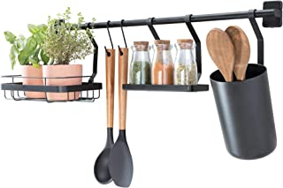 iDesign barre de cuisine (63,8 x 14,5 x 23,8 cm), porte ustensiles de cuisine avec 2 crochets, support pour plantes & étag...