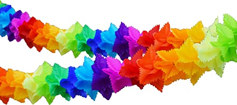 Multicolor Tissue Paper Flower Garland Decoration. Square 9 inches