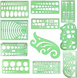 Lot de pochoirs pour dessiner des cercles avec règle en plastique et outils de dessin Formes de dessin Fournitures de math...