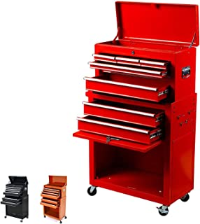 Portable Tool Storage Box 2 in 1 Rolling Tool Chest Removable Tool Storage Cabinet with Sliding Drawers Keyed Locking System Toolbox Organizer,Red