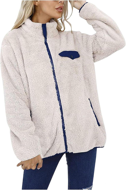Misaky Winter Womens Long Sleeve Full Zip Sherpa Jackets Patchwork Fleece Coat With Zipper Pockets