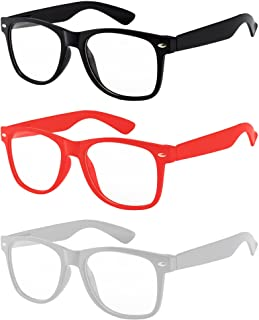3 Pairs Kids Clear Lens Glasses Protect Child's Eyes from UVB UVA