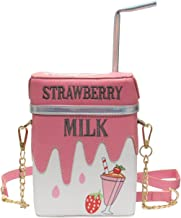LUI SUI-Cute Laser Shoulder Chain Bag Straw Lemon Milk Box Cross-body Bag Mobile Phone Wallet C50