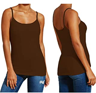 863fcd89ce01f0 Papaval Womens Printed Plain Ladies Stretch Long Strappy Cami Camisole Vest  Tank Top