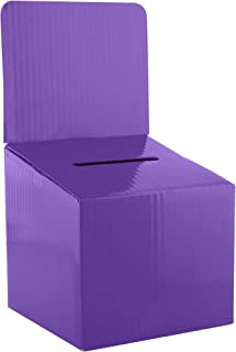 Ballot Box for Suggestions Donations Raffles White Glossy Cardboard Boxes in Medium Size 6x6x6 inches with Slot for Ticket...