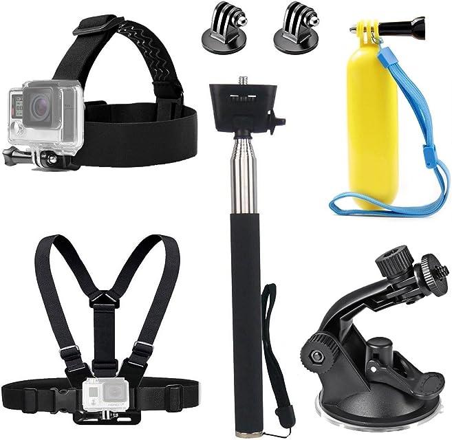 TEKCAM - Correa para la cabeza de la cámara de acción arnés de pecho soporte para selfie mango flotante con ventosa compatible con GoPro Hero 7 6 Crosstour Campark 4K Victure cámara submarina