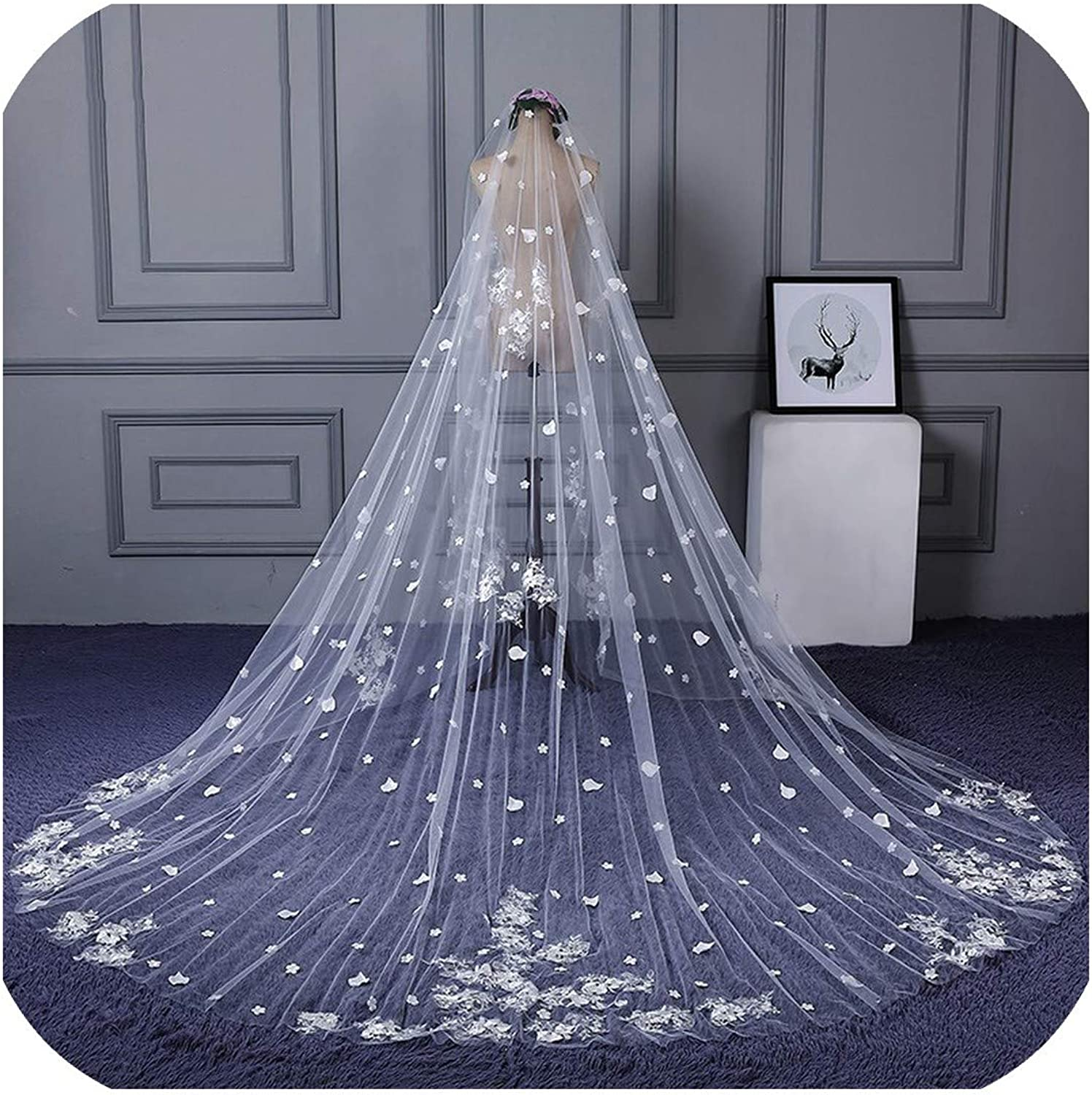 3 Meters Width 4 Meters Wedding Veils Church Bridal Veil with Lace Appliques and Flowers,Ivory,350cm