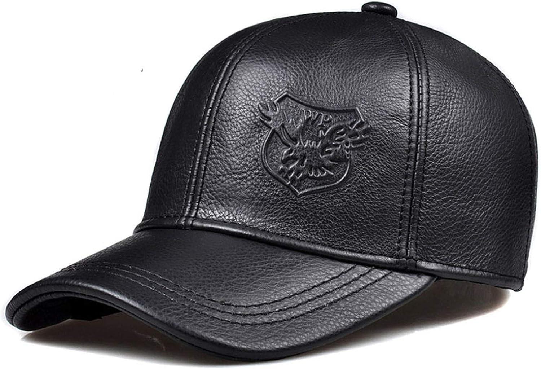 2018 New 100% Genuine Leather Hat Warm Winter Baseball Real Cowskin Snap Back Cap Women Man