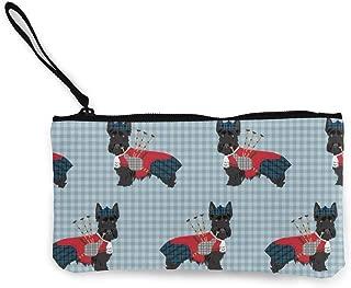 Billetera, Monederos, Scottie Dog with Bagpipes Womens Canvas Coin Purse Mini Change Wallet Pouch-Card Holder Phone Wallet Storage Bag,Pencil Pen Case