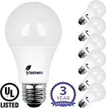 Fluxtronics A19 LED Light Bulb, 75 Watt to 100 Watt Equivalent (11.2W), 1100 Lumens, Warm White (3000K), Non-Dimmable A19 LED Bulbs, E26 Base, UL Listed, 3 Years Warranty, 6-Pack