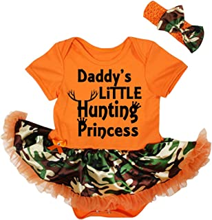 Petitebella Daddy's Hunting Princess Orange Bodysuit Camouflage Tutu Nb-18m