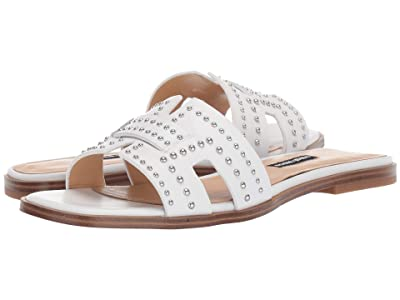 Nine West Genesia Studded Slide Sandal (White) Women