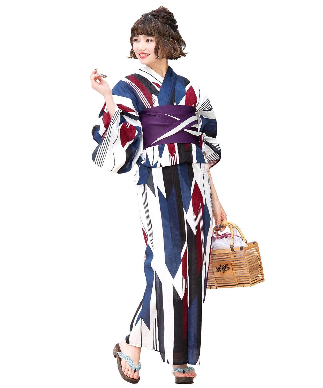 (ソウビエン)レディース浴衣セット 白系 オフホワイト 紺 赤 矢羽根 縞 アートモダン 綿 女性 花火大会