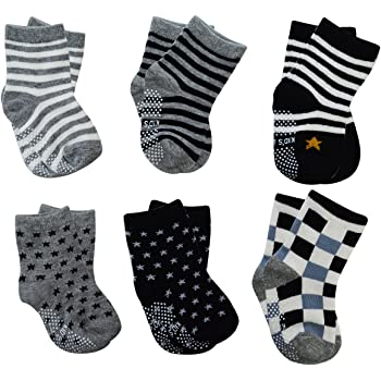 12 Pairs Baby Toddler Socks Boy Girl Cotton Grip Anti Slip Knit Breathable Socks