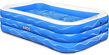"""Inflatable Swimming Pool Family Full-Sized Inflatable Pools 118"""" x 72"""" x 22"""" Thickened Family Lounge Pool for Tod"""