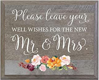 LifeSong Milestones Please Leave Your Well Wishes For The New Mr. and Mrs. Decorative Wedding Party sign for Ceremony and Reception for Bride and Groom (6x8)