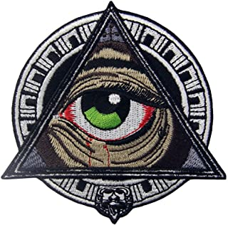 (All Seeing Eye) - Mayan Geometric Patterns All Seeing Blooding Eye Patch Embroidered Applique Iron On Sew On Emblem