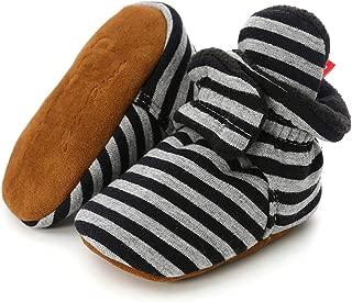 Infant Baby Boy Girl Cozy Fleece Bootie Newborn Stay On Slipper Sock Soft Sole Gripper Non-Skid Crib Shoe First Birthday Shower Gift