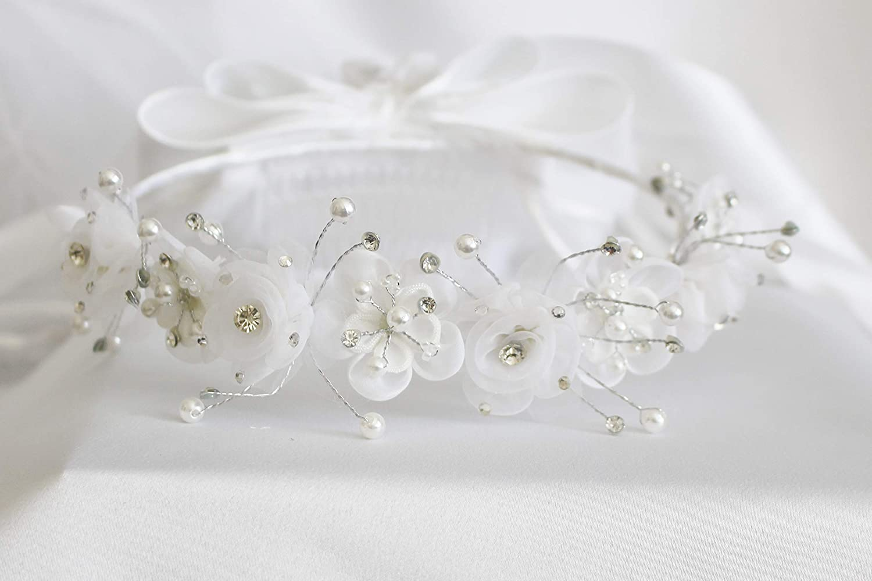 5 Styles of Girls 1st Communion Wedding Bridal White Veil Flower Girl Wreath Headpiece (V441)