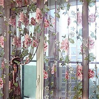 LnLyin élégant Floral Tulle Voile Porte Rideau de fenêtre Panneau drapé Sheer Écharpe Cantonnière
