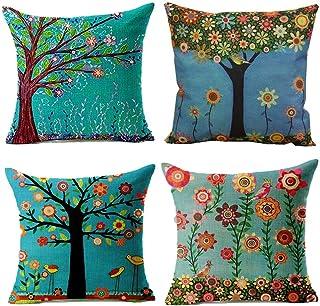 Juego de 4 fundas de cojín de lino de algodón – Árbol de la vida decorativo de 45 x 45 cm, perfecto para el hogar, oficina, sofá, cama