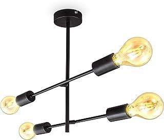B.K.Licht plafonnier design rétro, pivotant, pour 4 ampoules E27, métal noir mat, livré sans ampoules 60W max, éclairage p...
