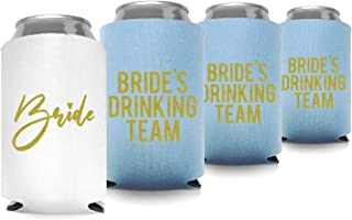 Coolies Can Coolers Insulated Collapsible Beer Soft Drinks Bottle Soda Can Sleeves (Bride & Bride Drinking Team) Durable Insulators Premium Quality for Bachelorette Party (Set of 12) White and Blue