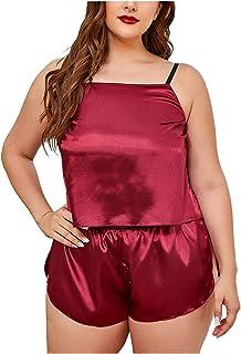 Ladies Pink Long Satin Chemise PJs Pyjamas Set Nightdress Size 8-34 PLUS SIZE