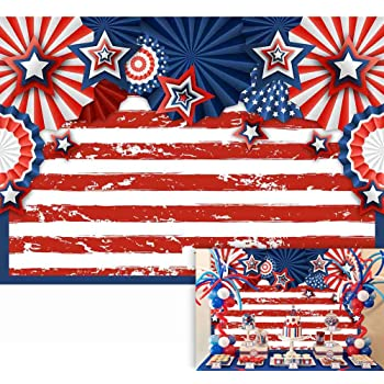 Happy 4th Red Blue Banner Personalized Decoration Backdrop
