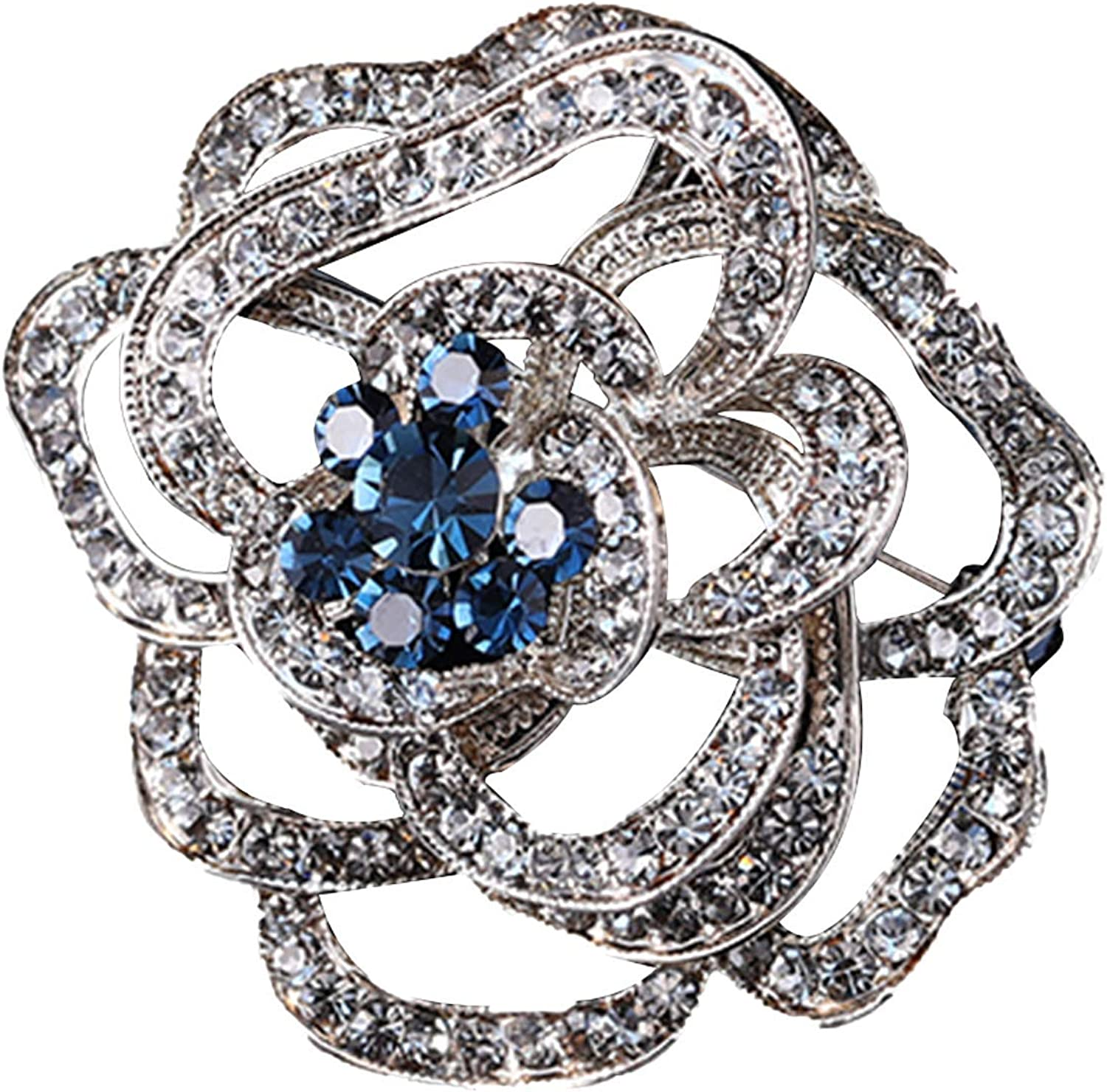 Jindorla Womens Rhinestone Flower Brooches - Crystal Vintage Style Brooch Pins Jewelry to Ladies Banquet Wedding Daily Use