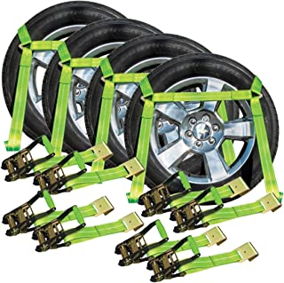 VULCAN High-Viz Side Rail Auto Tie Down with Flat Hooks - 3300 lbs. Safe Working Load, 4 Pack - Easily Trailer Any Car, Truck, SUV, Jeep, Or Sportscar