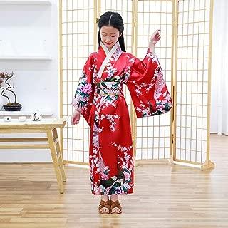 Oriental Asian Kids Girls Japanese Kimono Dress Traditional Costumes Haori Yukata Peacock Luxury Satin Robe Sleepwear Pajamas CQQO (Color : Color3, Size : 5th)