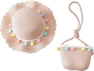 Straw Hat Kids Girls Large Wide Brim Travel Beach Beanie Cap