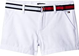 Stretch Twill Shorts with Flag Belt (Little Kids/Big Kids)