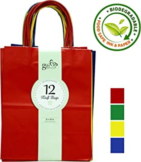 12CT Medium Primary Assorted Biodegradable, Food Safe Ink & Paper, Premium Quality Paper (Sturdy & Thicker), Kraft Bag with Colored Sturdy Handle