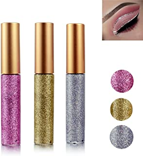 (Gold Brown,Silver and Pink) - Glitter Liquid Eyeshadow 3 Colour Metallic Glitter Sparkling Eyeliner Face Eye Cosmetic Glo...