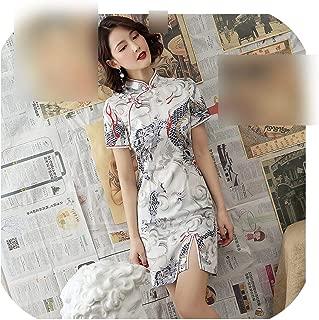 Hengheng-shop White Dragon Cheongsam Dresses Modern Young Style Modified Version Qipao Daily Short Oriental Chinese Dress