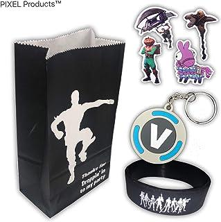 PIXEL Products Party Tasche 3 Kampf Spieler Begünstigte (Armband, Schlüsselanhänger und Aufkleber) liefert für Geburtstagsfeiern, Topf Füllstoffe (10 Party Taschen gefüllt)