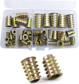 Furniture Insert Nut Connector Hex Socket Drive Head Nutsert Metric Threaded for Wood Furniture Screw Bolt Standard Fastener Hardware Assortment Kit Tool Set M4 M5 M6 M8 M10 Zinc Plated Alloy 50Pcs