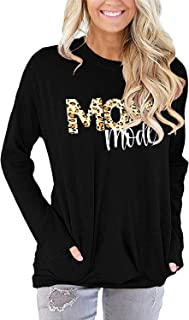 Women Pocket Shirts Casual Long Sleeve Tunic Tops Round Neck Comfy Loose Fit TShirts