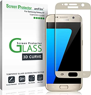 amFilm Glass Screen Protector for Galaxy S7, Tempered Glass, Dot Matrix, 3D Curved, with Gold Border