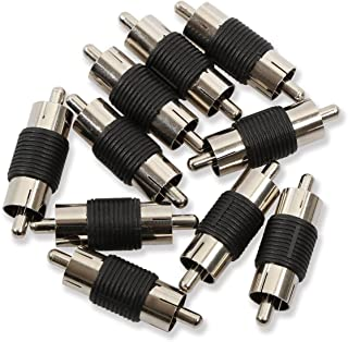 Electop 10 Pack Audio Video Nickel RCA Male to Male Coupler Adapter