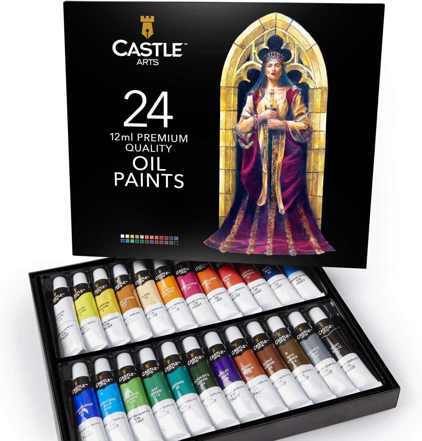 Castle Art Supplies juego de pinturas al óleo para artistas o principiantes, 24 colores vivos al óleo. Estuche de pintura profesional
