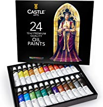 Castle Art Supplies Oil Paint Set - 24 Vibrant Colors in Tubes - Excellent Value Supplies with Beautiful Saturation and Co...