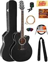 Takamine GN30CE NEX Cutaway Acoustic-Electric Guitar - Black Bundle with Hard Case, Cable, Tuner, Strap, Strings, Picks, Austin Bazaar Instructional DVD, and Polishing Cloth