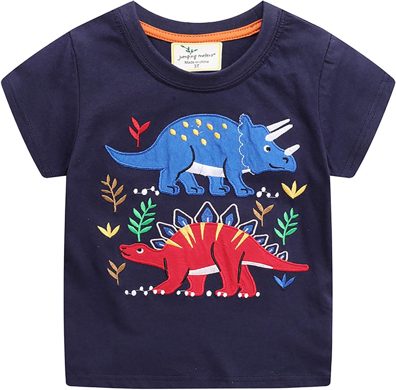 Little Boys Shirt Dinosaur Short Sleeve Crewneck T-Shirts Tops Toddler Summer Clothes Size Kids Navy Blue Tee Size 2-7T