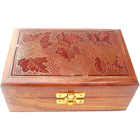 Amazon Com Crafts Of India Brass Inlay Hand Carved Wooden Jewelry Box Size 6 X4 X2 5 Inch Jb13 Home Kitchen